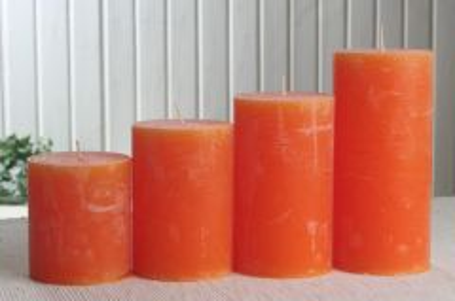 Rustik-Stumpenkerze viereckig 15 x 7,5 x 7,5 cm mandarin-orange
