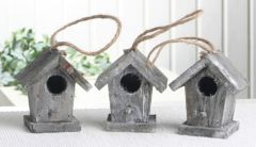 3er set deko vogelhaus aus holz natur grau klein 4195438. Black Bedroom Furniture Sets. Home Design Ideas
